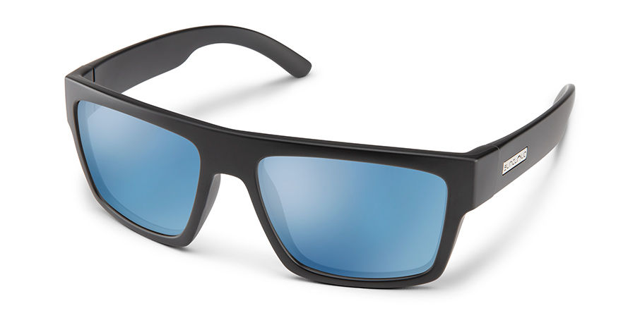 Flatline Sunglasses in Matte Black with Polar Blue Mirror Lens